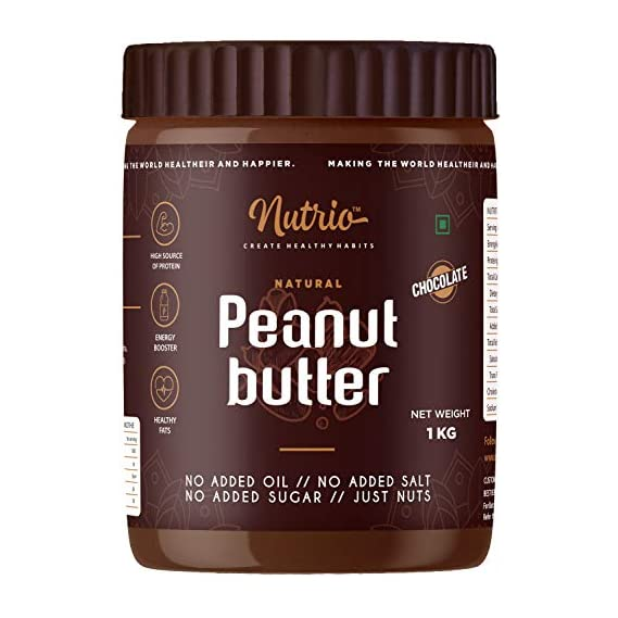 Nutrio Chocolate Peanut Butter 1kg (Chocolaty Flavor) | Made with Roasted Peanuts, Cocoa Powder & Choco Chips | Vegan