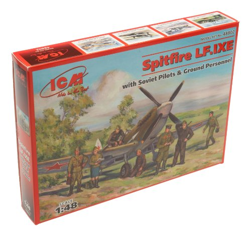 ICM Models Spitfire LF.IXE with Soviet Pilots and Ground Personnel Building Kit (Canopy Red Mount Line)