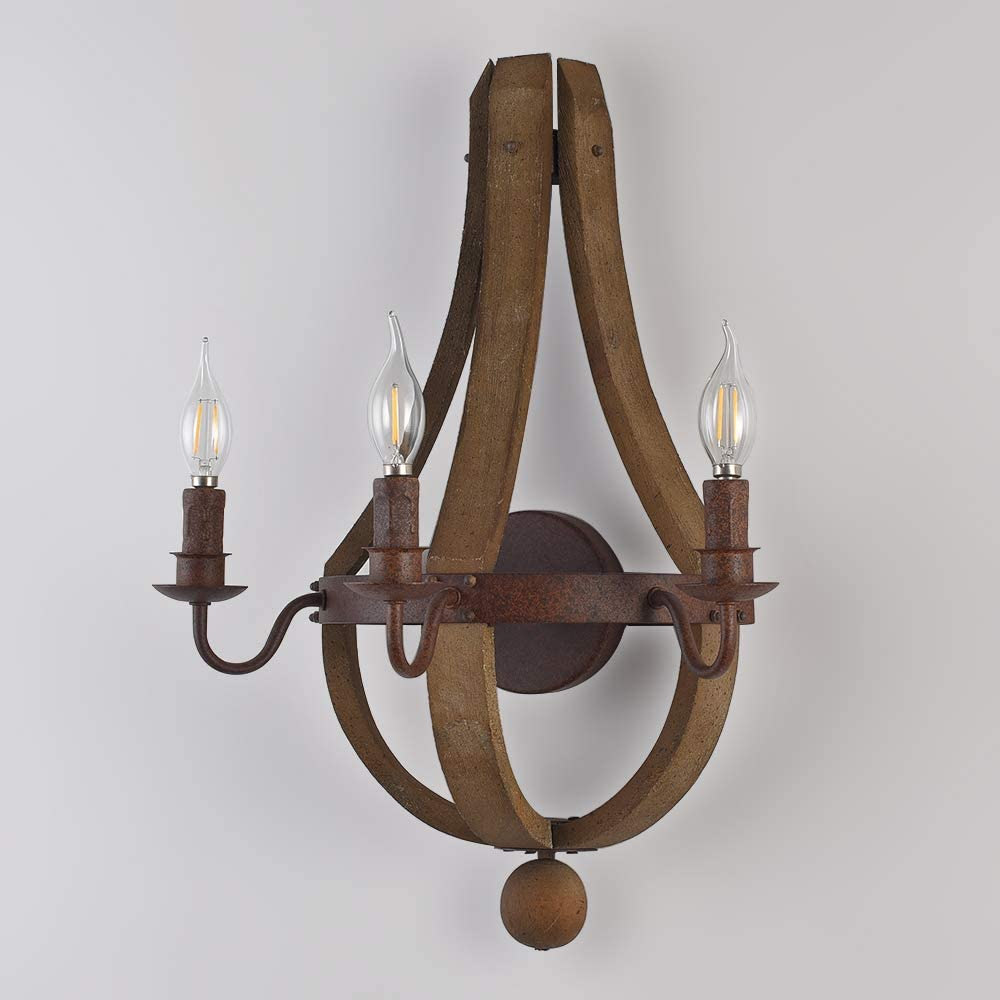 Lovedima Vega Rustic Wine Barrel Stave Wood /& Metal Indoor Wall Sconce 3-Light with Candle Light in Rust