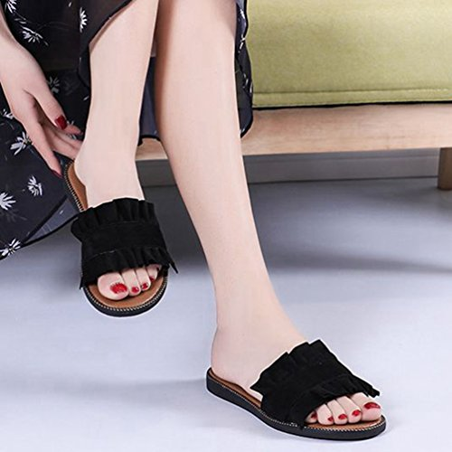 Negro de para Piscina Negro Sandalias Playa Mujer de Comodidad Azul Planas Antideslizante Verano Mezclilla de de Zapatillas Sandalias Encaje zxUfXwF