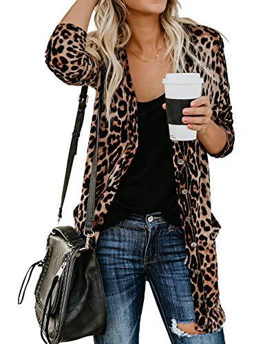 - WLLW Women Open Front Long Sleeve Leopard Print Cardigan Tops Blouse Coat Wrap