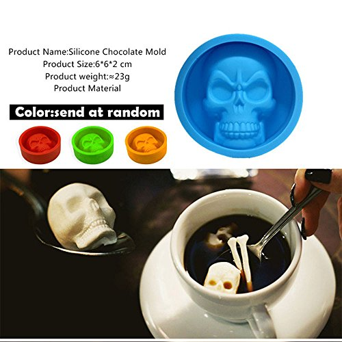 (Goodtrade8 Kitchen Clearance Pop Halloween 3D Skull Silicone Mold Chocolate Fondant Cake Making Baking)