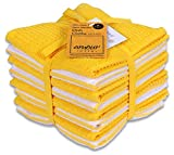 AMOUR INFINI Terry Dish Cloth   Set of 8   12 x 12 Inches   Durable, Super Soft and Absorbent  100% Cotton Dish Rags   Perfect for Household and Commercial Uses   Yellow