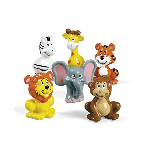 12 ZOO ANIMAL SAFARI BABY SHOWER Birthday Party Favors Cake Cupcake Toppers (Baby Zoo Lamp)