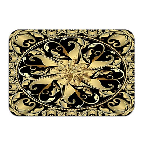 - zexuandiy Washable Fabric Placemats for Dining Room Kitchen Table Decoration Multicolor 24 x 16 inch Baroque Gold d Mandala Ornamental Panel Floral Decora