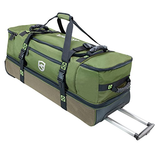 Elkton Outdoors Rolling Fishing Duffle Bag with Wet, Dry Gear Pockets and Retractable Handle, 35.5 x 12.5 x 12.5 inches, Holds and Organizes Gear, Bait, Cargo and ()