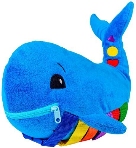 "BUCKLE TOY ""Blu"" Whale - Toddler Early Learning Basic Life Skills Children?s Plush Travel Activity"