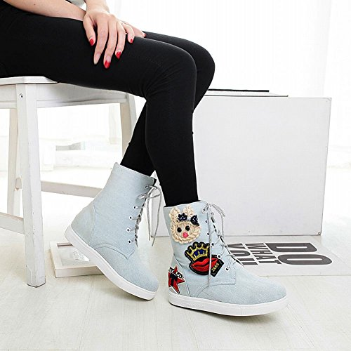 Carolbar Womens Lace Up Denim Cartoon Bunny Applique Simpatici Begli Stivali Corti Azzurri