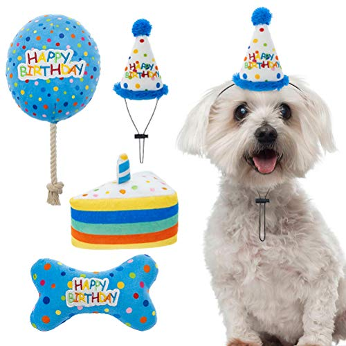 Dog Birthday Hat with Cake and Plush Squeaky Toys, Dog Birthday Party Supplies, Party Decorations for Boys, Puppy Chew…