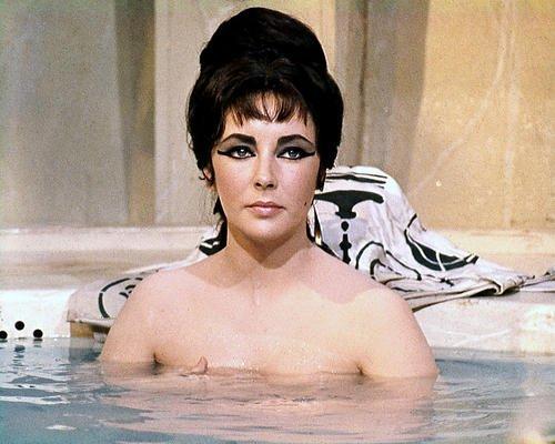 (Elizabeth Taylor Cleopatra Bareshouldered in Bath Tub Iconic 11x14 Promotional Photograph)