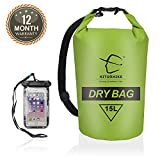 Hitorhike 15L 25LWaterproof Dry Bag- Roll Top Dry Compression Sack Keeps Gear Dry for Kayaking, Beach, Rafting, Boating, Hiking, Camping and Fishing with Waterproof Phone Case (GREEN-15L)