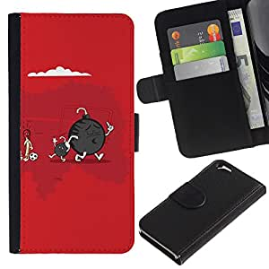 EJOY---La carpeta del tirón la caja de cuero de alta calidad de la PU Caso protector / Apple Iphone 6 / --Cute Funny Bomba & Son