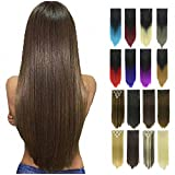 PrettyWit Clip in on Hair Extensions Full Head Ombre Straight Double Weft 23-24 Inch Long Hairpiece 7pcs/set for Women(Medium Ash Brown to Strawberry Blond 8T27)