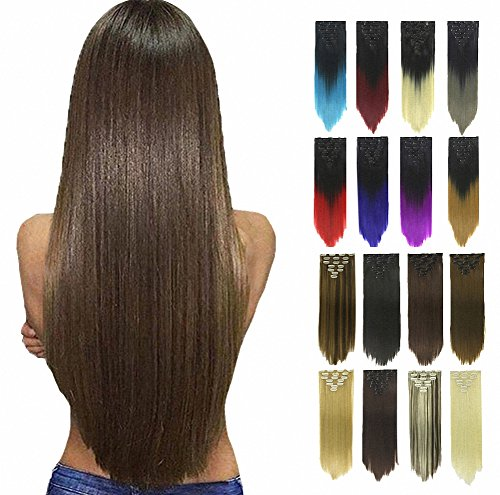 Price comparison product image PrettyWit Clip in on Hair Extensions Full Head Straight Double Weft 23-24 Inch Long Hairpiece 7pcs/set for Women(Black 2)