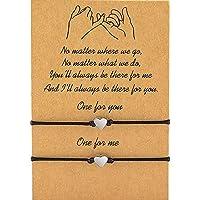 GABWE Pinky Promise Bracelets 2pcs Friendship Couple Distance Matching Bracelets Gift for Back to School