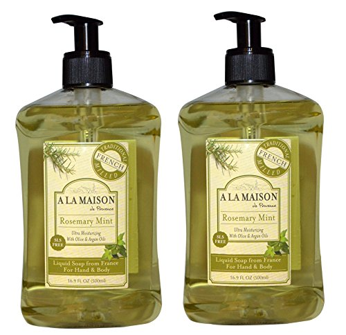 (A La Maison de Provence Rosemary Mint Liquid Hand and Body Soap (Pack of 2) With Olive Oil, Coconut Oil and Vitamin E, 16.9 fl. oz. Each )