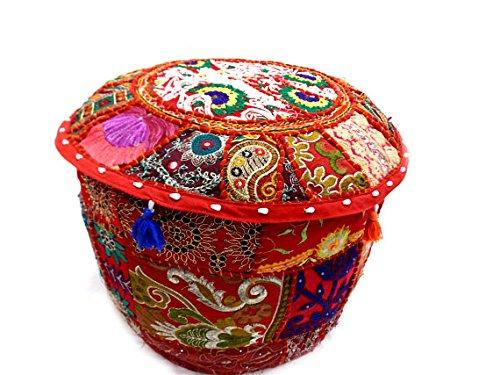 GANESHAM NANDNANDINI - Beautiful Christmas Decorative Vintage Ottoman Decorative-Patchwork Round Ottoman Pouf Stool Chair Handmade Indian Pouf Bohemian Ottoman