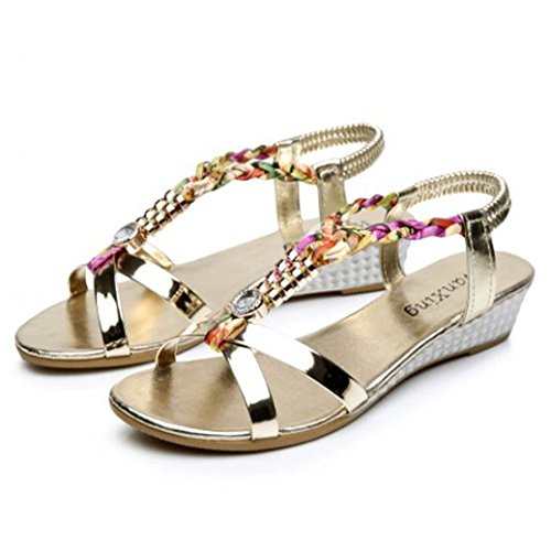 Hunputa Women Summer Rhinestone Flat Sandals Boho Beach Shoes (Gold, 39(US 8))