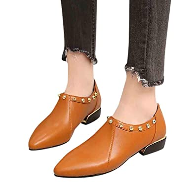 b7dc1ff3968 Amazon.com | OrchidAmor Female Rivet Large Size Single Shoes Pointed ...