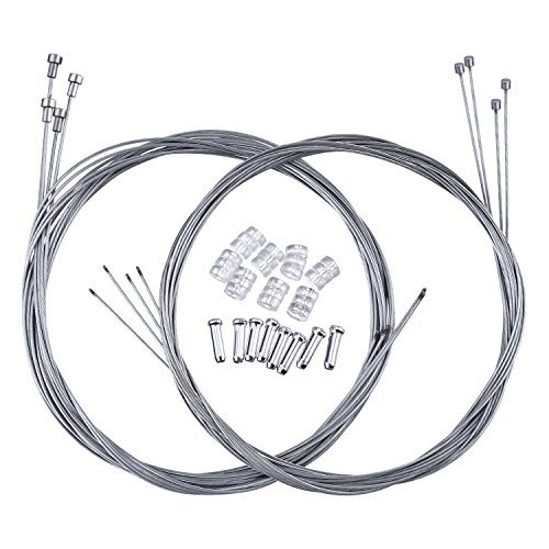 Hotop 2 Set Road Bike Brake Cable Bicycle Gear Cable Wire with Caps Complete Inner Replacement Set (Road Bike Brake Cable Style A) ()