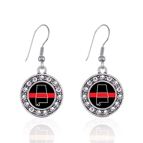 41f4a3b08 Inspired Silver - Alabama Thin Red Line Charm Earrings for Women - Silver  Circle Charm French
