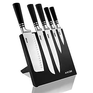 Aicok cuchillos, set de cuchillos de carbono inoxidable alemán. Incluye 5 cuchillos diferentes y un soporte magnético para ellos