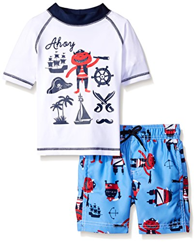 Carter's Little Boys' Toddler 2 Piece Ahoy Rash Guard Set, White, 3T (Joker Suit For Sale)