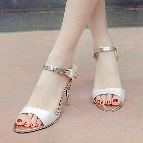 TAOFFEN Women Fashion Thin High Heel Sandals Open Back Shoes Glod OfOz0K