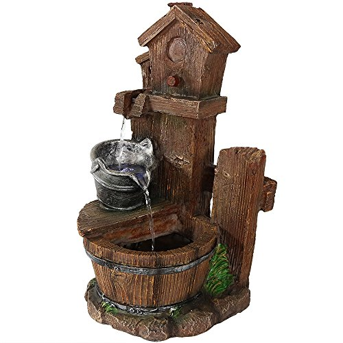 Sunnydaze Birdhouse and Silver Bucket Tiered Indoor Tabletop Fountain