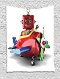 Airplane Collection Toy Robot Sitting in a Toy Plane Amusement Automated Childhood Machine Image Red Green Blue Supersoft Throw Fleece Blanket 59.05x59.05 Inches