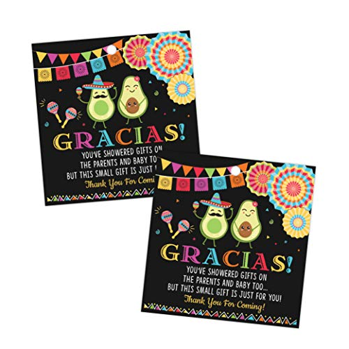 Fiesta Baby Shower Thank You Favor Tags, Thank You Tags, Gracias Baby Shower Tags, 50 Count -