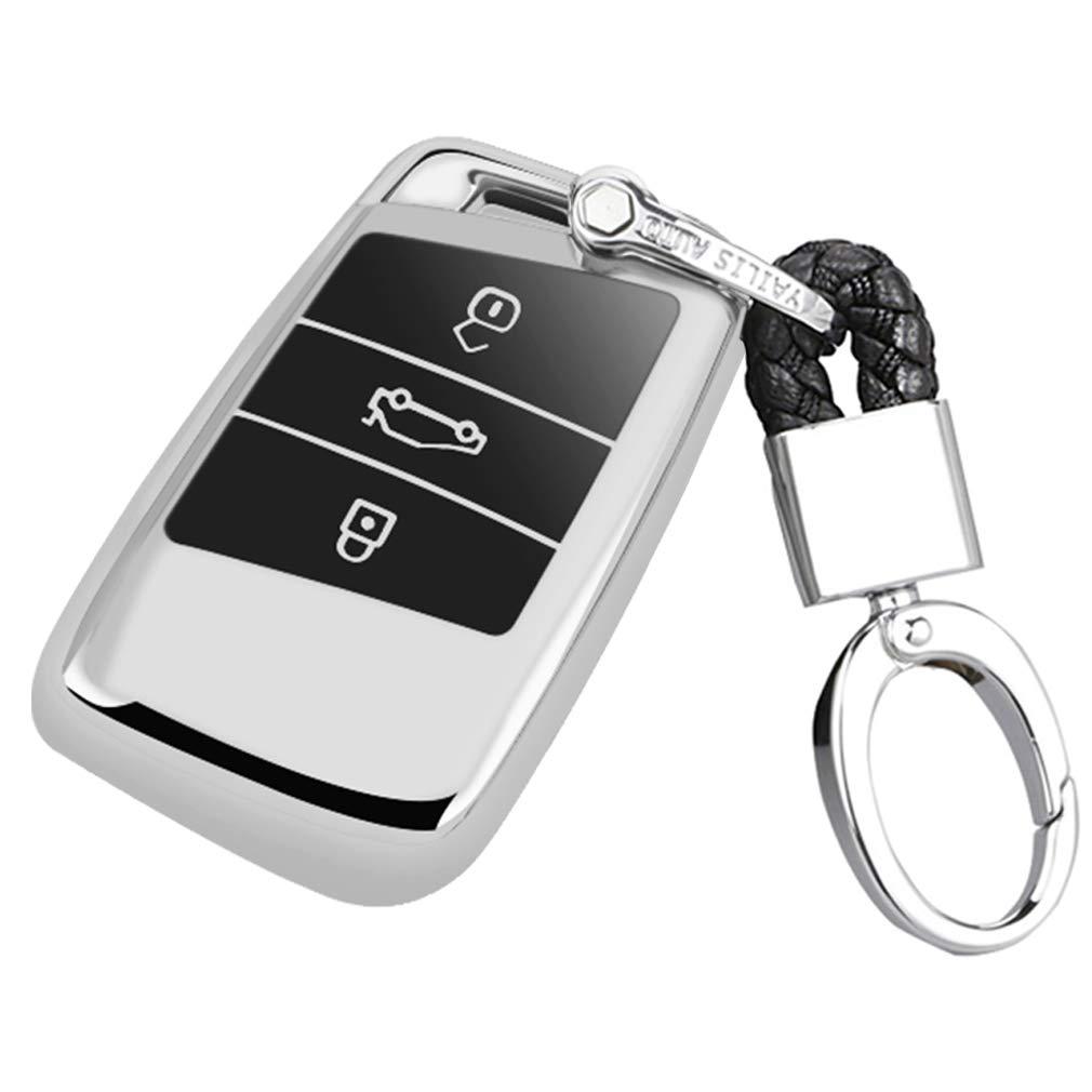 Key Protection Shell Auto Schl/üssel H/ülle Key Cover Case Etui Silikon mit Schl/üsselanh/änger F/ür VW Volkswagen Tiguan MK2 Passat B7 B8 CC 2017 2018 Skoda Superb A7 Blau