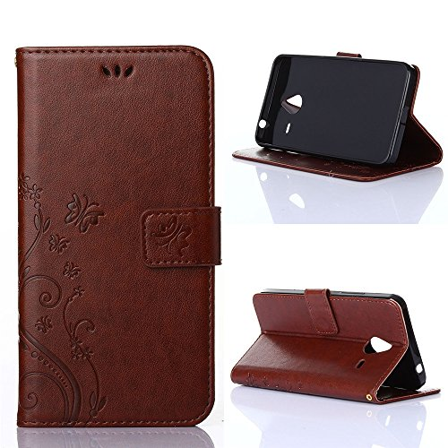 COOLKE Retro Mariposas Patrón PU Leather Wallet With Card Pouch Stand de protección Funda Carcasa Cuero Tapa Case Cover para Microsoft Lumia 640 XL - café marrón marrón