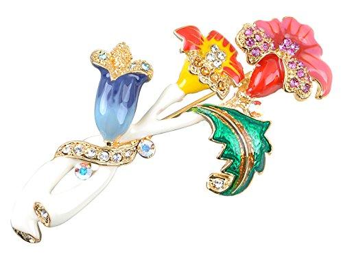 - Alilang Swarovski Crystal Elements Colorful Intertwining Flower Plant Fashion Pin Brooch