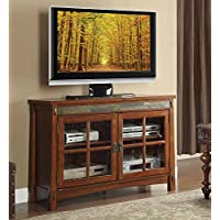 Homelegance 8077-T TV Stand with Slate Décor, 48-Inch, Cherry Finish