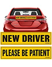 """TOTOMO New Driver Please be Patient Magnet Sticker - 12""""x3"""" Highly Reflective Premium Quality Car Safety Caution Sign for New and Student Drivers #SDM09"""