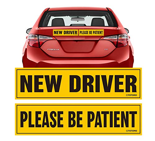 "TOTOMO New Driver Please be Patient Magnet Sticker - 12""x3"" Highly Reflective Premium Quality Car Safety Caution Sign for New and Student Drivers #SDM09"