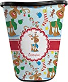 RNK Shops Reindeer Waste Basket - Double Sided (Black) (Personalized)