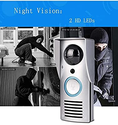 Wireless Video Doorbell ,Wireless Wifi Remote 10.0 MP Piexl Unlock Rainproof Night Vision Enabled Intercom Door phone By DOHAOOE