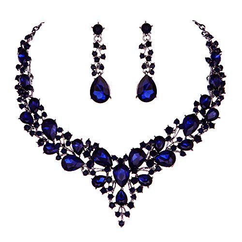 Youfir Bridal Austrian Crystal Necklace and Earrings Jewelry Set Gifts fit with Wedding Dress(Navy Blue)
