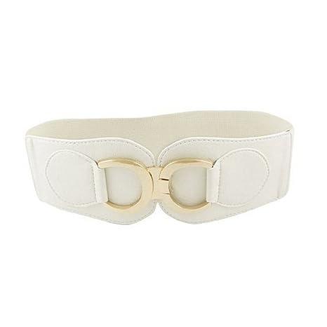 Gleader Cintura elastica larga bianca per le donne Doppia D Anello Fibbia  in tono oro 4df96ddcb18