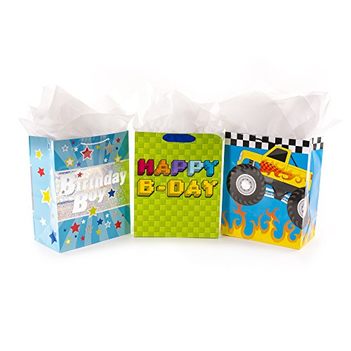 Hallmark Large Birthday Gift Bag Bundle with Tissue Paper, Monster Truck (Pack of 3)