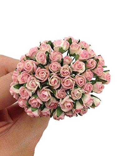 50pc Bright Pink Artificial Flowers Paper Rose Flower Wedding Card Embellishment Scrapbook Craft ()