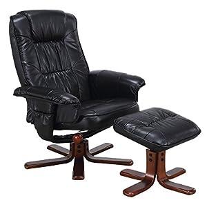 Giantex Leisure TV Recliner Chair Lounger Armchair Swivel Seat W/Ottoman  Footstool (Black)