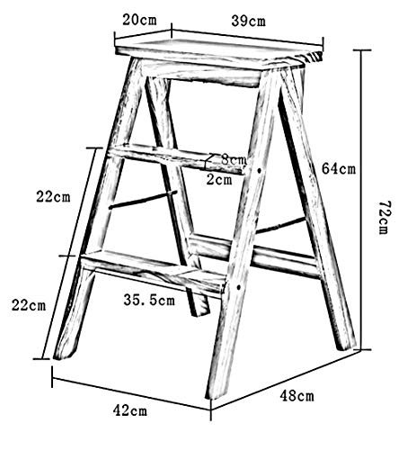 - HTDZDX 3 Steps Folding Ladder Stool Wooden Ladder Herringbone Kitchen Solid Wood Chair, 3 Colors, 39x20x64cm Step Stool (Color : A)