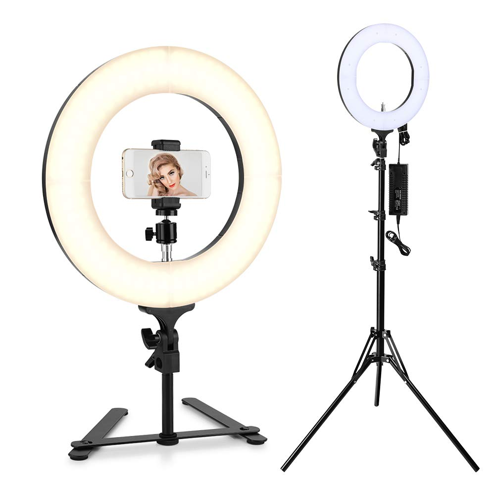 Houzetek Ring Light, 14 inch Bi-Color 336 LED 65W Ring Light Dimmable and Color Temperature 2700-5500K with Light Stand, Phone Holder, Carrying Bag for Video & Photography, Makeup, YouTube, Selfie
