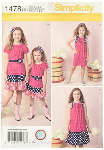 Simplicity 1478 Girls Skirt, Knit Dress, Top and Accessories Designed by Mellon Monkeys Size 3-4-5-6