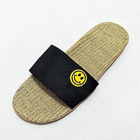 Qsy shoe Zapatillas de cáñamo sonrientes japonesas de Verano Zapatos de cáñamo, Negro, 39-40: Amazon.es: Deportes y aire libre