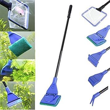 Set de limpieza para acuarios 5 en 1 compuesto de red para eliminar desechos, estropajo, rastrillo, rascador y pinza recogeplantas: Amazon.es: Jardín