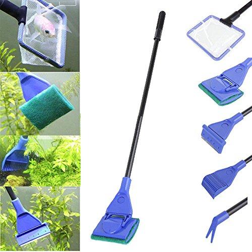5 in 1 acquario pulizia strumenti ,Set Fish Net ,Rake, raschietto ,forcella, spugna,per la rimozione di alghe Yosoo